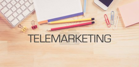 Business Workplace with  TELEMARKETING Concept