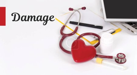 Photo for Health care things, notepad, digital devices and lettering - Royalty Free Image