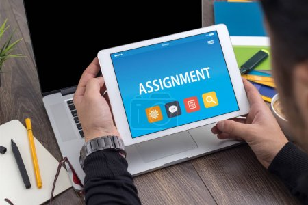 ASSIGNMENT CONCEPT ON TABLET PC SCREEN...