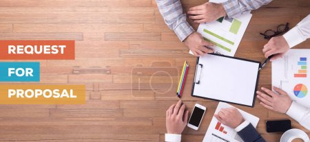 Photo for REQUEST FOR PROPOSAL CONCEPT. Businesspeople  working in office - Royalty Free Image