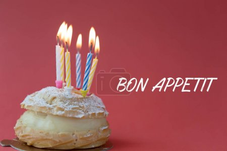 Photo for BON APPETIT CONCEPT with cake on red background - Royalty Free Image