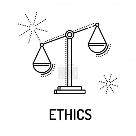 Illustration for ETHICS Line Icon. Vector illustration - Royalty Free Image