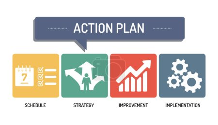Illustration for ACTION PLAN - ICON SET, vector illustration - Royalty Free Image