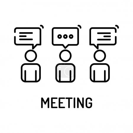 Illustration for Meeting Line Icon, vector illustration - Royalty Free Image