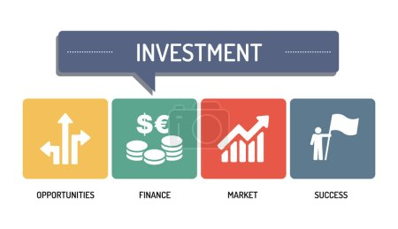 Illustration for INVESTMENT - ICON SET, vector illustration - Royalty Free Image