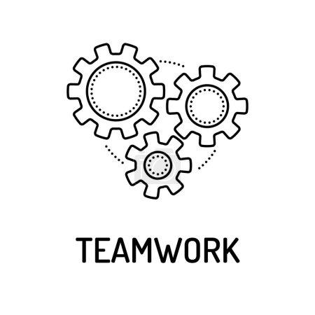 Illustration for TEAMWORK Line icon. Vector illustration - Royalty Free Image
