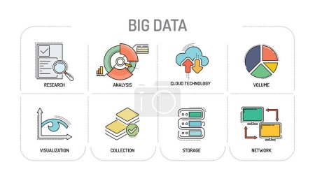 BIG DATA - Line icons Concept