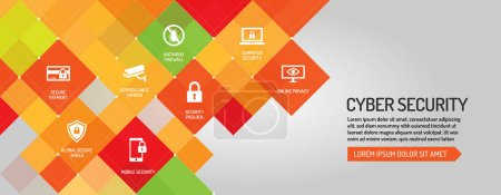 Illustration pour Bannière de cybersécurité, illustration vectorielle - image libre de droit