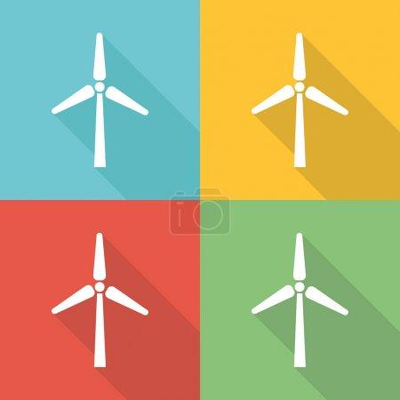Illustration pour Concept d'icône plate d'éolienne - image libre de droit