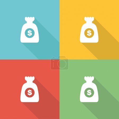 Illustration for Cost Flat Icon Concept. Vector illustration - Royalty Free Image