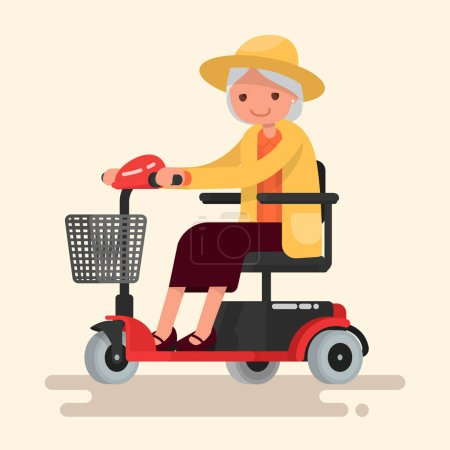 Grandmother, an elderly woman in hat rides on an electric wheelc
