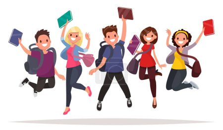 Illustration for Happy group of students are jumping on a white background. Cheerful young people with backpacks and books. Vector illustration in a flat style - Royalty Free Image