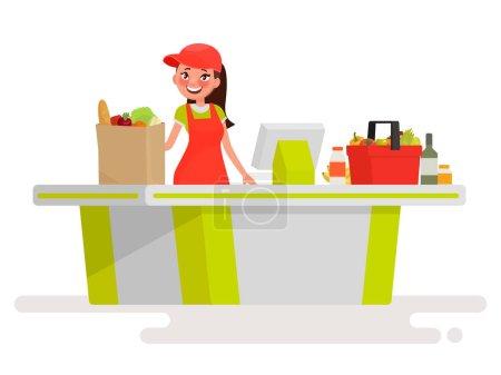 Illustration for Lovely girl cashier at the cash register supermarket. Vector illustration in cartoon style - Royalty Free Image