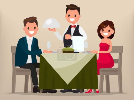 Illustration for A young couple having dinner in a restaurant. Man and woman sitting at the table, the waiter brought a dish. Vector illustration in a flat style - Royalty Free Image