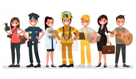 Menschen unterschiedlicher Berufe. Tag der Arbeit. Vektorillustration
