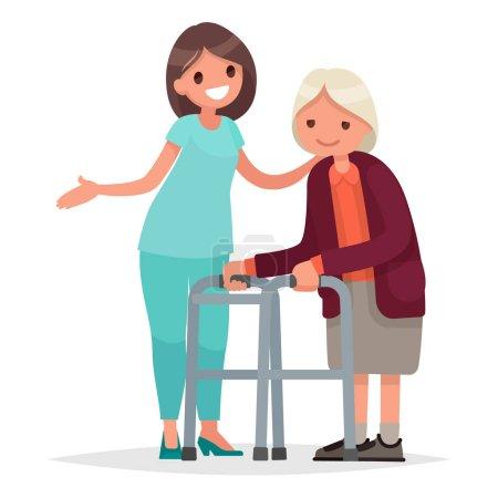 Krankenschwester hilft ihrer Großmutter, zum Rollator zu gehen. Pflege der