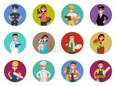 Illustration pour Ensemble d'avatars personnages de différentes professions : policier, photographe, messager, pilote, médecin et autres. Illustration vectorielle dans un style plat - image libre de droit