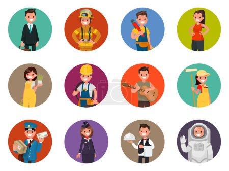 Photo pour Définir des avatars personnages de différentes professions : pompier, astronaute, plombier et autres. Illustration vectorielle dans un style plat - image libre de droit