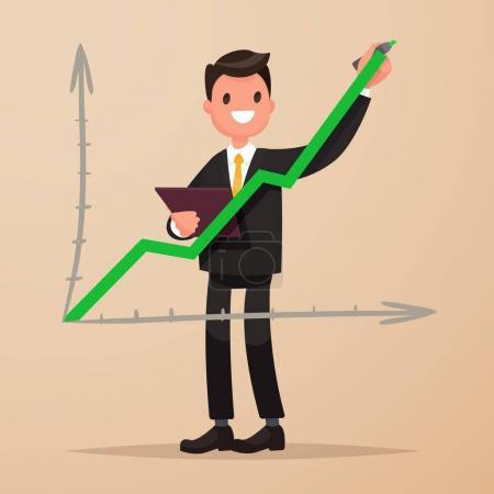 Photo pour Un homme d'affaires dessine un graphique en hausse. Le concept de réussite et de croissance des revenus. Illustration vectorielle dans un style plat - image libre de droit
