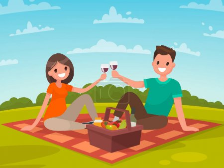 Illustration for Happy couple of young people on a picnic. A trip to nature together. Vector illustration in a flat style - Royalty Free Image