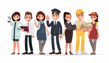 Photo for People of different professions on a white background. The laboratory assistant, the operator, the hairdresser, the driver, the teacher, the courier and the seller in the store. Vector illustration in a flat style - Royalty Free Image