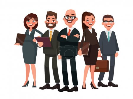Illustration for Business people are led by a leader. Vector illustration in cartoon style - Royalty Free Image