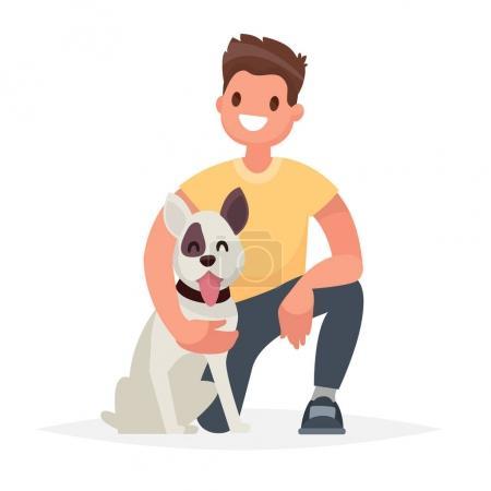 Illustration pour Homme avec le chien. Prendre soin d'un ami de quatre pieds. Illustration vectorielle dans un style plat - image libre de droit