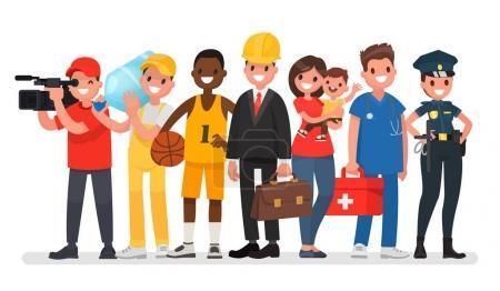Menschen unterschiedlicher Berufe. Ingenieur, Kindermädchen, Sportler, Kameramann, Lader, Krankenwagen, Polizistin