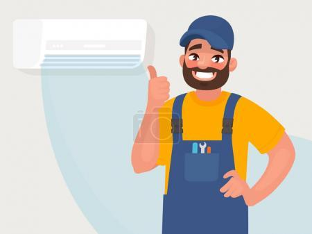Illustration for Service and repair of air conditioners. The repairman on the background of a properly functioning air conditioner. Vector illustration in cartoon style - Royalty Free Image