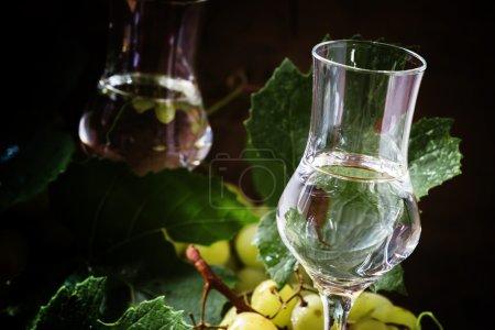 Traditional Italian vodka, still life in rustic style