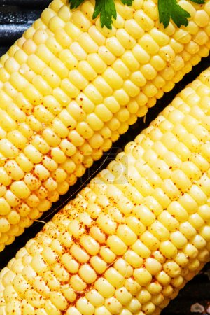 Corn, prepared for roasting on a grill with spices