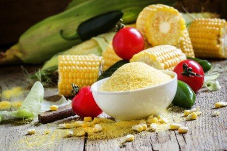 Corn grits, fresh vegetables