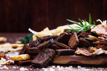 Dried crust from black rye bread