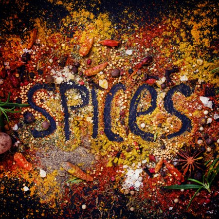 Food background with the word spices