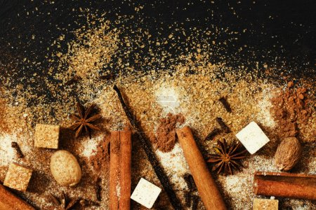 Christmas spices, food background