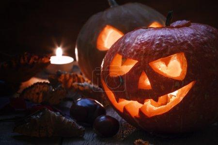 Two Halloween pumpkins Jack-o-Lantern