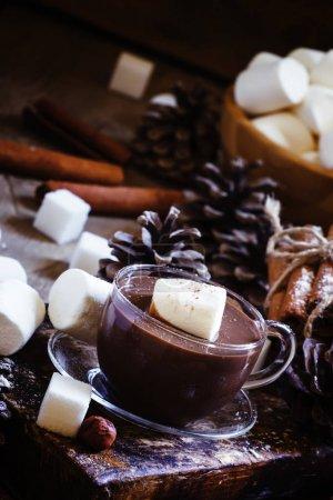 Liquid chocolate with marshmallows