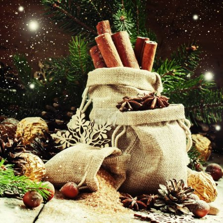 Christmas atmosphere: spices, candies, cones and nuts