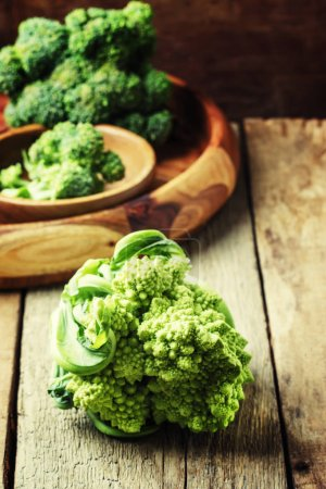 Whole green broccoli cabbage romanesco