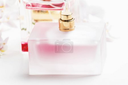 Perfumes in bottles, white background