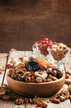 Healthy food: nuts and dried fruits