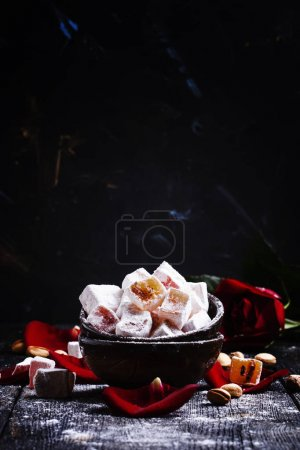 Rahat lukum, oriental sweets with pistachios and rose petals