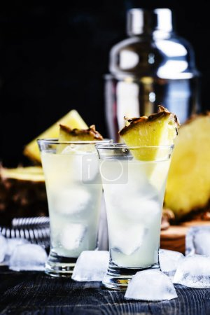 Alcoholic cocktail with pineapple