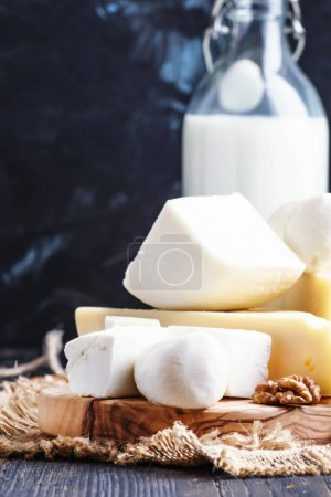 Assorted cheese, selective focus