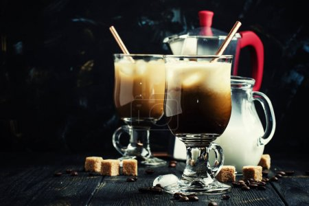 Ice coffee in glasses