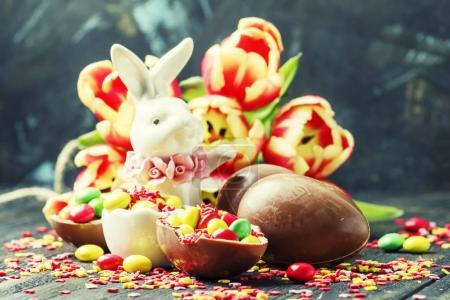 Easter composition with a rabbit and flowers