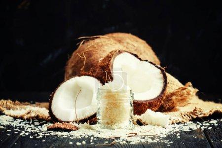 Coconut shaving in a glass jar