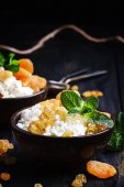 Homemade cottage cheese with dried apricots