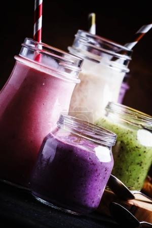 Selection of colorful berry and fruit smoothies