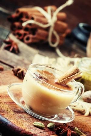 Masala tea with milk and spices